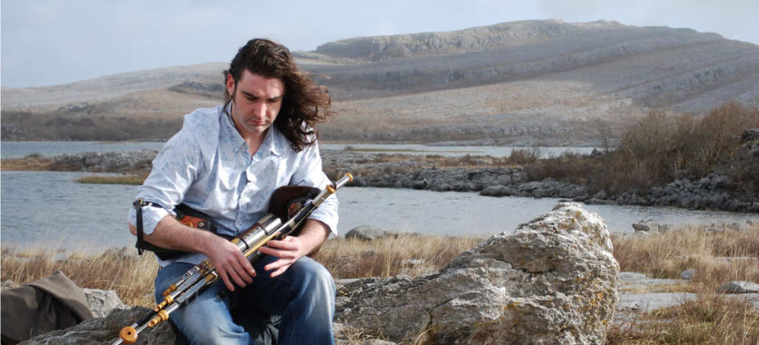 Blackie O'Connor plays Uillean Pipe in the Burren